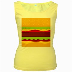 Vector Burger Time Background Women s Yellow Tank Top