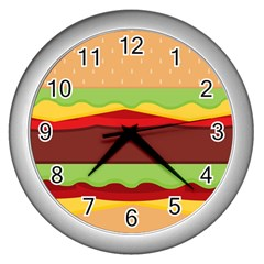 Vector Burger Time Background Wall Clocks (silver)
