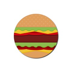 Vector Burger Time Background Rubber Round Coaster (4 pack)