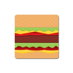 Vector Burger Time Background Square Magnet