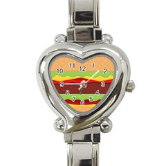 Vector Burger Time Background Heart Italian Charm Watch
