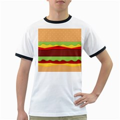 Vector Burger Time Background Ringer T Shirts