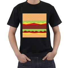 Vector Burger Time Background Men s T Shirt (black) (two Sided)