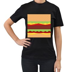 Vector Burger Time Background Women s T-Shirt (Black) (Two Sided)