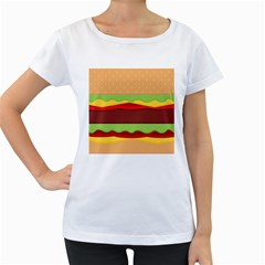 Vector Burger Time Background Women s Loose Fit T Shirt (white)