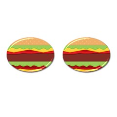 Vector Burger Time Background Cufflinks (Oval)