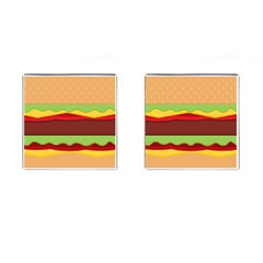 Vector Burger Time Background Cufflinks (Square)