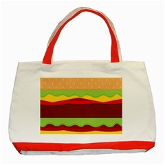 Vector Burger Time Background Classic Tote Bag (Red)