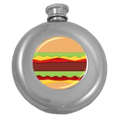 Vector Burger Time Background Round Hip Flask (5 oz)
