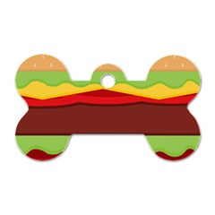 Vector Burger Time Background Dog Tag Bone (two Sides)