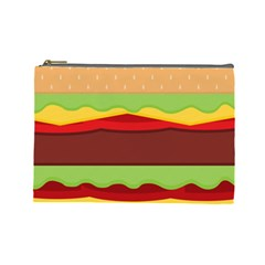 Vector Burger Time Background Cosmetic Bag (large)