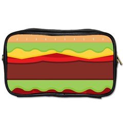 Vector Burger Time Background Toiletries Bags 2-Side