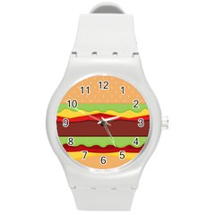 Vector Burger Time Background Round Plastic Sport Watch (M)