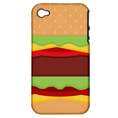 Vector Burger Time Background Apple Iphone 4/4s Hardshell Case (pc+silicone)