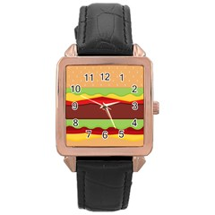 Vector Burger Time Background Rose Gold Leather Watch