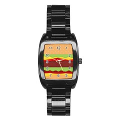 Vector Burger Time Background Stainless Steel Barrel Watch
