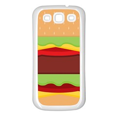 Vector Burger Time Background Samsung Galaxy S3 Back Case (White)