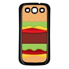 Vector Burger Time Background Samsung Galaxy S3 Back Case (black)