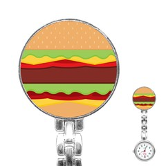Vector Burger Time Background Stainless Steel Nurses Watch