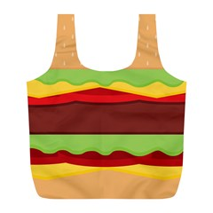 Vector Burger Time Background Full Print Recycle Bags (L)