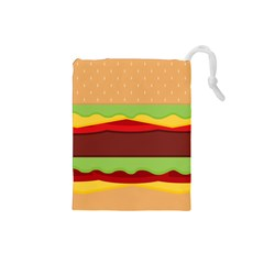 Vector Burger Time Background Drawstring Pouches (Small)