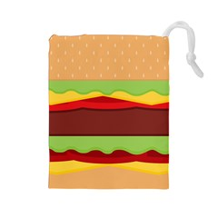 Vector Burger Time Background Drawstring Pouches (Large)