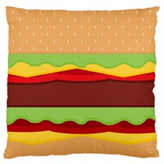 Vector Burger Time Background Large Flano Cushion Case (Two Sides)