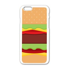Vector Burger Time Background Apple Iphone 6/6s White Enamel Case