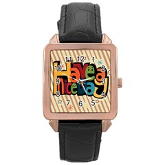Have A Nice Happiness Happy Day Rose Gold Leather Watch