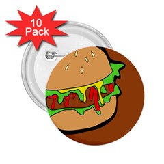 Burger Double 2 25  Buttons (10 Pack)