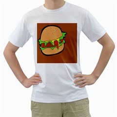 Burger Double Men s T Shirt (white) (two Sided)