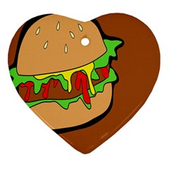 Burger Double Heart Ornament (two Sides)