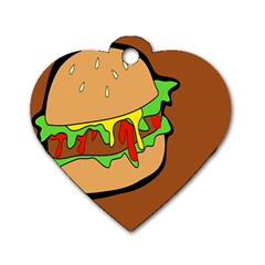 Burger Double Dog Tag Heart (one Side)