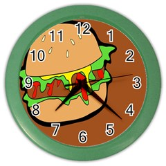 Burger Double Color Wall Clocks