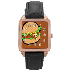 Burger Double Rose Gold Leather Watch