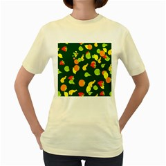 Seamless Tile Background Abstract Women s Yellow T-Shirt