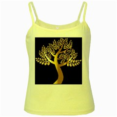 Abstract Art Floral Forest Yellow Spaghetti Tank