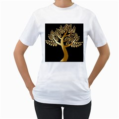 Abstract Art Floral Forest Women s T Shirt (white) (two Sided)