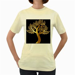 Abstract Art Floral Forest Women s Yellow T Shirt