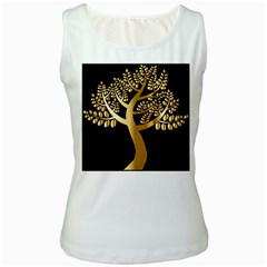 Abstract Art Floral Forest Women s White Tank Top