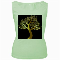 Abstract Art Floral Forest Women s Green Tank Top