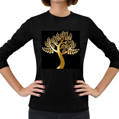 Abstract Art Floral Forest Women s Long Sleeve Dark T-Shirts