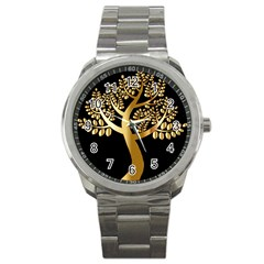 Abstract Art Floral Forest Sport Metal Watch
