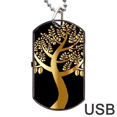 Abstract Art Floral Forest Dog Tag Usb Flash (one Side)