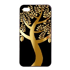Abstract Art Floral Forest Apple iPhone 4/4s Seamless Case (Black)