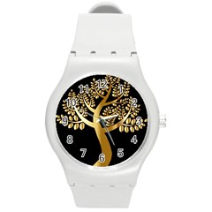 Abstract Art Floral Forest Round Plastic Sport Watch (m)