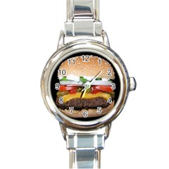 Abstract Barbeque Bbq Beauty Beef Round Italian Charm Watch