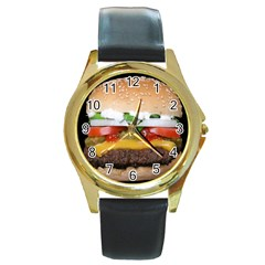 Abstract Barbeque Bbq Beauty Beef Round Gold Metal Watch