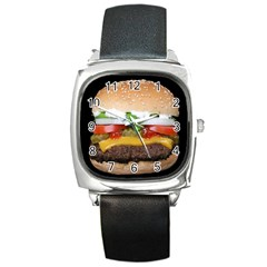 Abstract Barbeque Bbq Beauty Beef Square Metal Watch