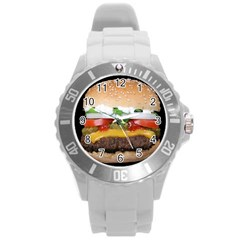 Abstract Barbeque Bbq Beauty Beef Round Plastic Sport Watch (L)
